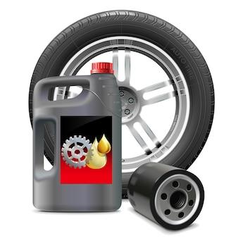 Óleo do motor com filtro de óleo e pneu isolado no fundo branco
