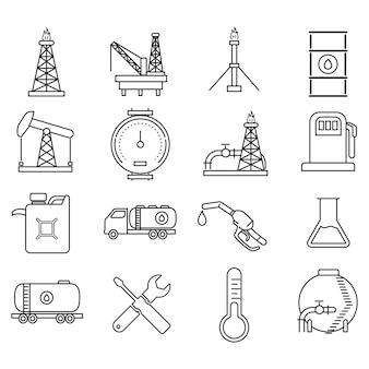 Óleo e energia recursos ícones vector icônico design