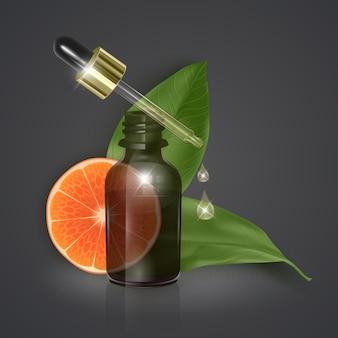 Óleo essencial com fatia de laranja, vitamina c, ilustração 3d realista.