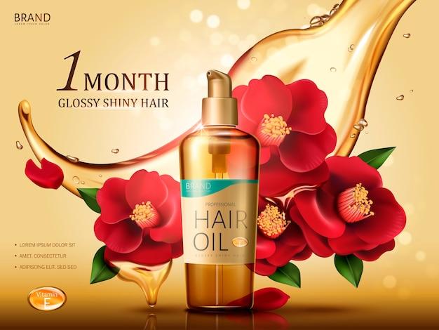 Óleo para cabelo de camélia contido em um frasco, com flores vermelhas de camélia e fluxo de óleo, fundo dourado