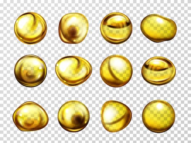 Óleo vegetal, lubrificante de motor ou mel várias formas cai com reflexos de luz