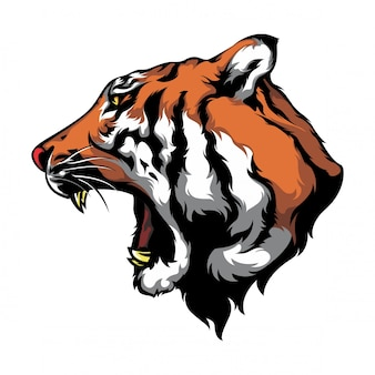 Olhar de lado de vetor de cabeça de tigre