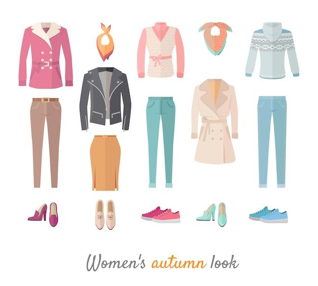 Olhar de outono feminino definido em design plano