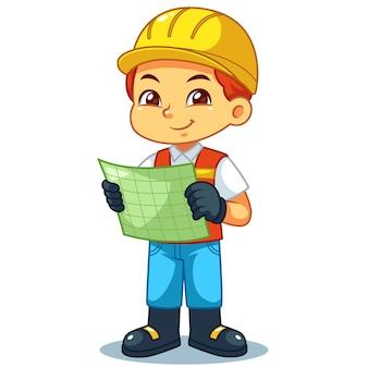 Olhar do menino do arquiteto no plano de trabalho.