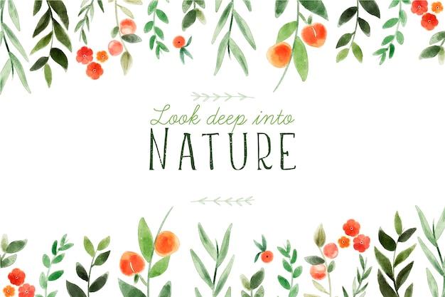 Olhe profundamente na natureza. citação de letras com tema floral e flores
