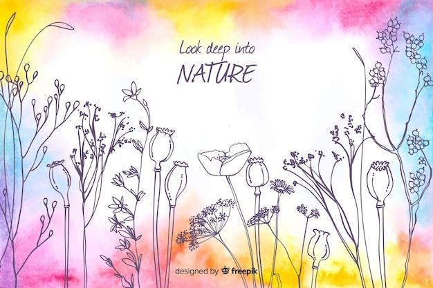 Olhe profundamente no fundo floral aquarela da natureza