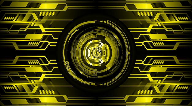 Olho amarelo cyber circuito futuro tecnologia conceito fundo