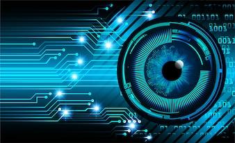 Olho azul cyber circuito futuro conceito de tecnologia fundo