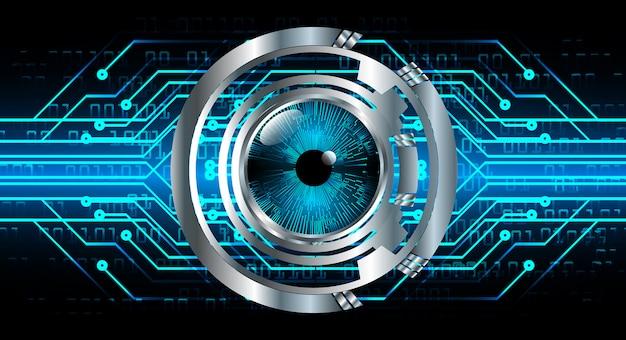 Olho azul cyber circuito futuro tecnologia banner fundo
