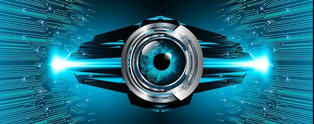 Olho azul cyber circuito futuro tecnologia