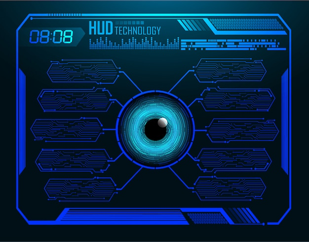 Olho azul hud cyber circuito futuro tecnologia conceito plano de fundo