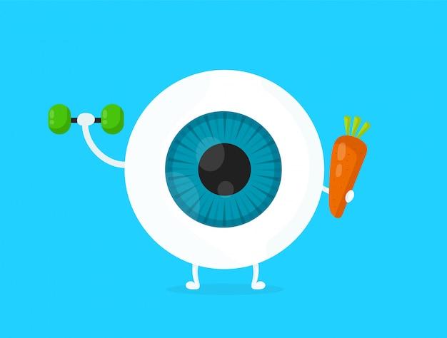 Olho branco saudável forte, globo ocular, fazendo exercícios com halteres e personagem de cenoura.