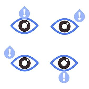 Olho com ícone de sinal de aviso ícone de saúde ocular para o conceito do dia da visão mundial