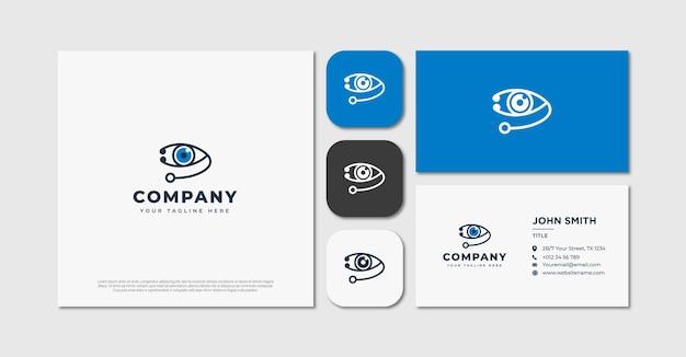 Olho com logotipo do estetoscópio e cartão de visita