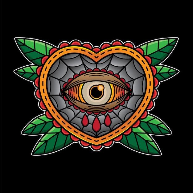 Olho coração chora flash tatuagem