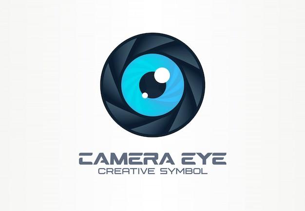 Olho de câmera de foto, conceito de símbolo criativo de visão digital. cctv, vídeo monitoramento idéia de logotipo de negócio abstrato. diafragma, ícone de lente do obturador