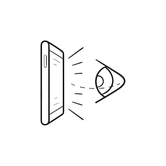 Olho de realidade virtual e ícone de doodle de contorno desenhado de mão de telefone móvel. tecnologia de rv do futuro, conceito de rastreamento ocular