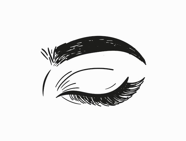 Olho fechado da mulher desenhada à mão. ilustração vetorial.