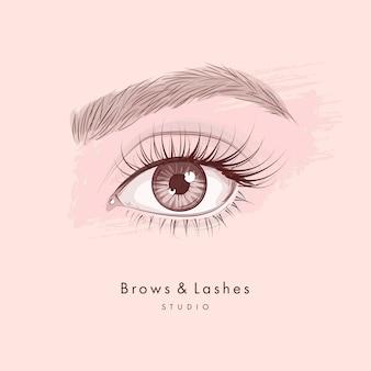 Olho feminino com longos cílios e sobrancelhas pretas