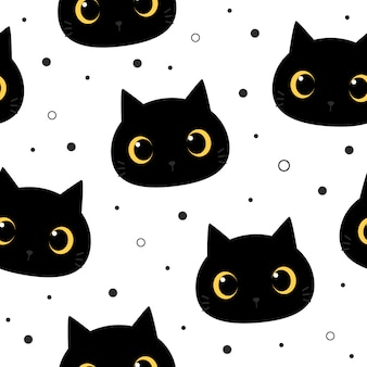 Olho grande bonito gato preto gatinho dos desenhos animados doodle padrão sem emenda