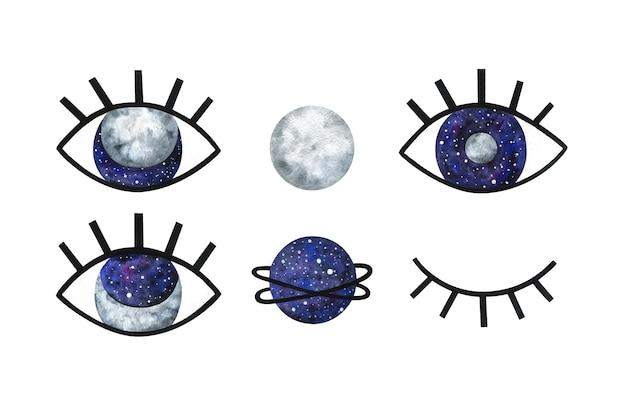 Olho grande com cílios pretos, lua, planeta e espaço. misterioso clipart abstrato