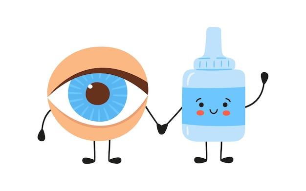 Olho humano kawaii e personagens de gotas médicas. remédio para a saúde dos olhos. tratamento da conjuntivite e olhos secos. ilustração em vetor isolada no fundo branco no estilo desenhado à mão.