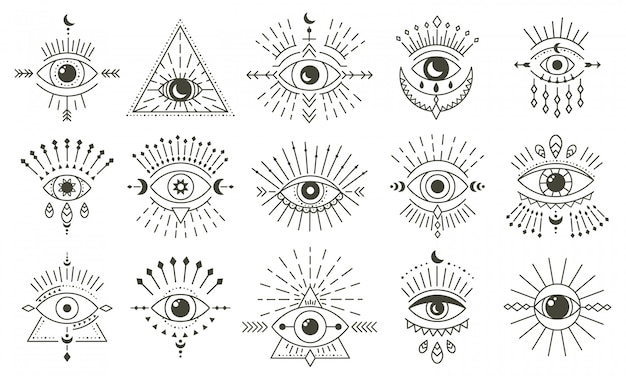 Olho mau do doodle. mão desenhada talismã de olho de bruxaria mágica, olhos mágicos esotéricos, conjunto de ícones de ilustração de símbolos de geometria sagrada de religião. amuleto talismã, vários souvenirs da sorte