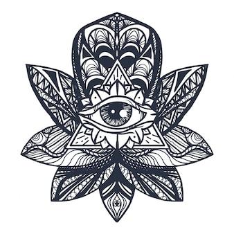 Olho na tatuagem de lótus