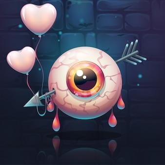 Olho perfurado com flecha e corações