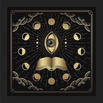 Olho que tudo vê com livro e decorações da fase da lua