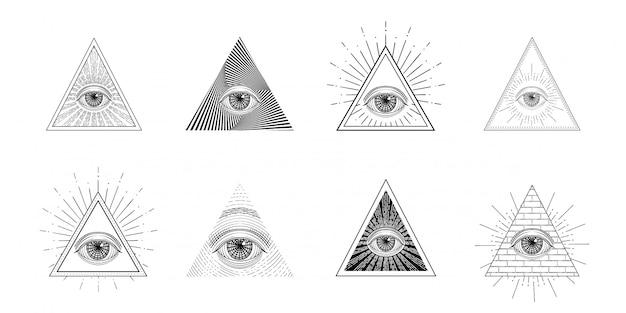 Olho que tudo vê, símbolo de maçom em triângulo com raio de luz, tatuagem desenho