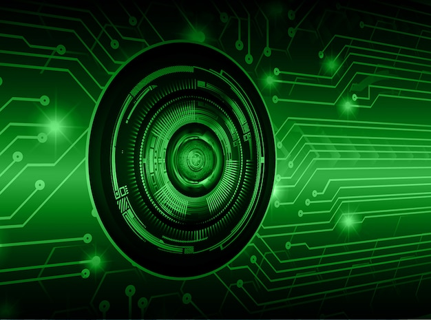 Olho verde cyber circuito futuro tecnologia conceito fundo