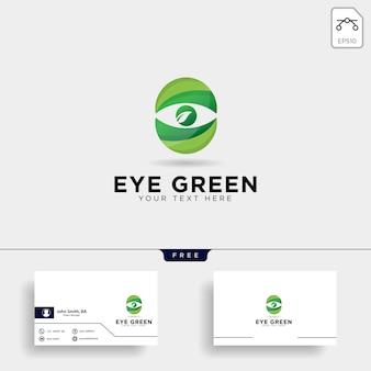 Olho verde eco relógio logotipo modelo vector ilustração ícone elemento