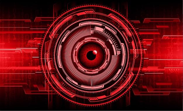 Olho vermelho cyber circuito futuro tecnologia conceito fundo