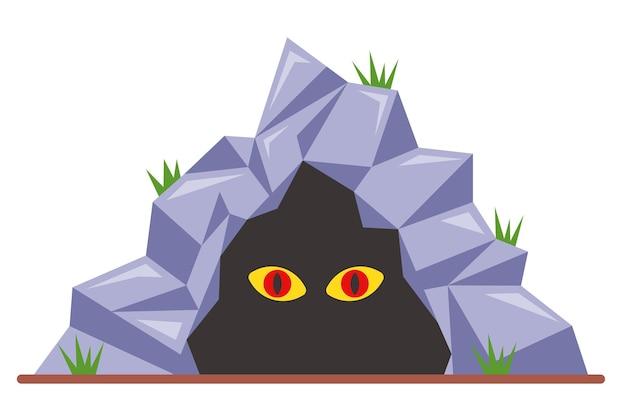 Olhos assustadores em uma ilustração de caverna escura