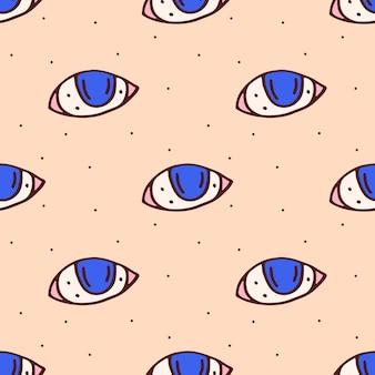 Olhos azuis bonito mão desenhada sem costura padrão