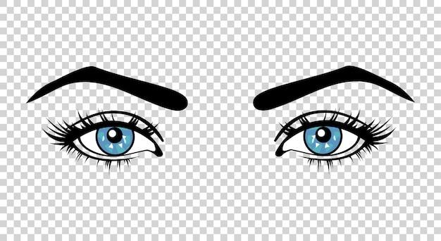 Olhos azuis femininos de vetor