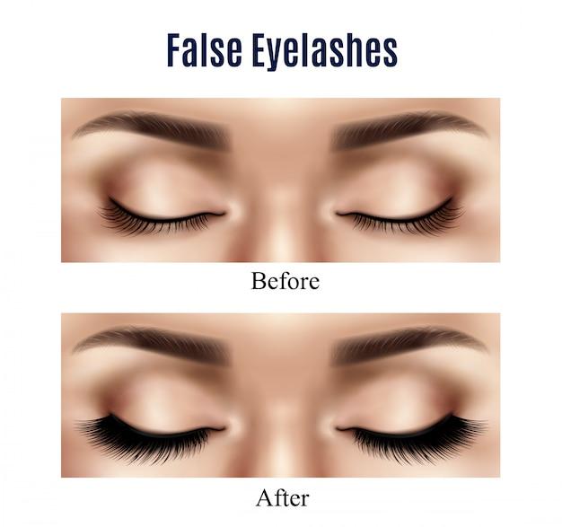 Olhos cílios postiços ilustração realista