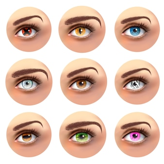 Olhos coloridos com conjunto de pupilas diferentes