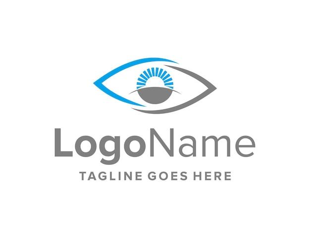 Olhos com horizonte e sol simples, elegante, criativo, geométrico, moderno, design de logotipo