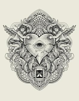 Olhos de coração com gravura ornamento