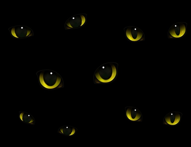 Olhos de gato na escuridão realista