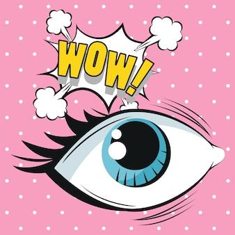 Olhos de mulher com estilo pop art de expressão wow.