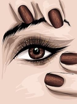 Olhos de mulher lindos com maquiagem e unhas com verniz.