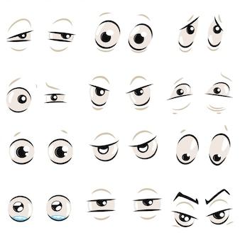 Olhos de quadrinhos desenhos animados com sobrancelhas conjunto isolado no branco. ilustração de emoções: zangado, triste, surpreso, louco, engraçado, mal, confuso, chorando e outros.