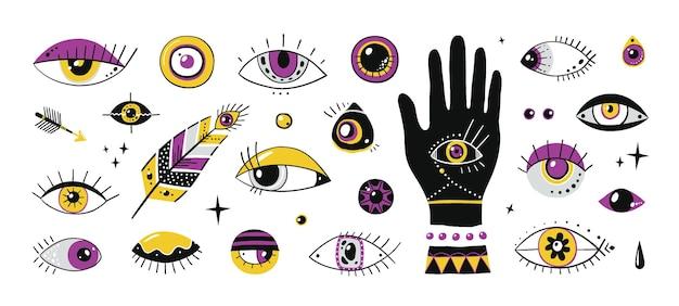 Olhos desenhados à mão. doodle símbolos ornamentais contemporâneos, elementos da moda mágicos do mal, estrelas e contas de mão de olhos. vetor definido isolado gráfico étnico diferente olho talismã