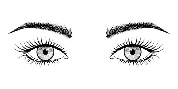 Olhos desenhados à mão.