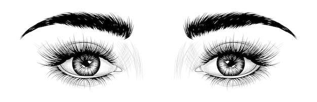 Olhos desenhados à mão