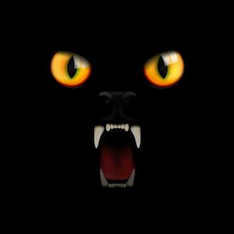 Olhos e dentes de um gato preto em um fundo preto.