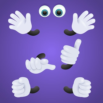 Olhos e mãos enluvadas de personagem